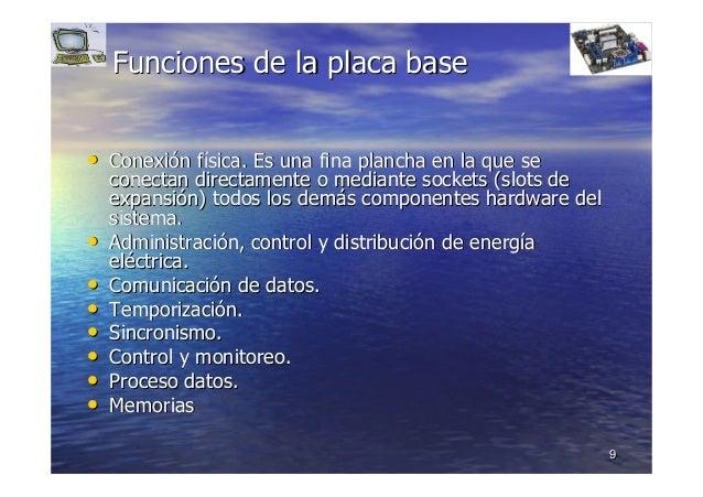 99 Funciones de la placa baseFunciones de la placa base •• ConexiConexióón fn fíísica.sica. Es una fina plancha en la que ...