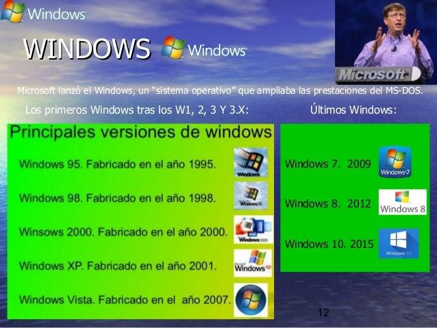 """12 Microsoft lanzó el Windows, un """"sistema operativo"""" que ampliaba las prestaciones del MS-DOS. Los primeros Windows tras ..."""