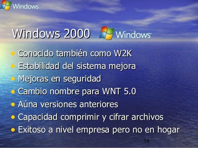 14 Windows 2000Windows 2000 • Conocido también como W2KConocido también como W2K • Estabilidad del sistema mejoraEstabilid...