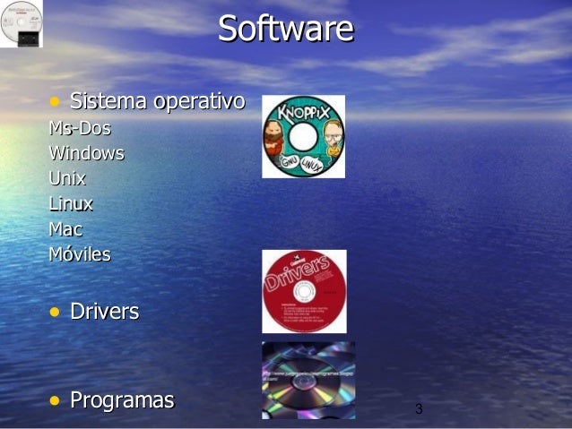 3 SoftwareSoftware • Sistema operativoSistema operativo Ms-DosMs-Dos WindowsWindows UnixUnix LinuxLinux MacMac MóvilesMóvi...