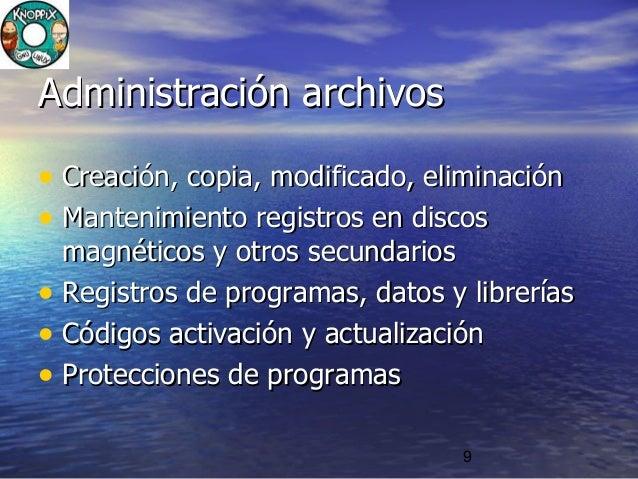 9 Administración archivosAdministración archivos • Creación, copia, modificado, eliminaciónCreación, copia, modificado, el...