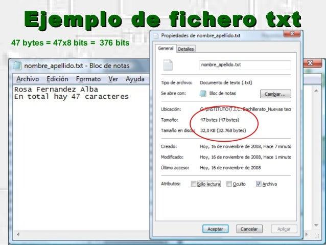 Ejemplo de fichero txtEjemplo de fichero txt 47 bytes = 47x8 bits = 376 bits