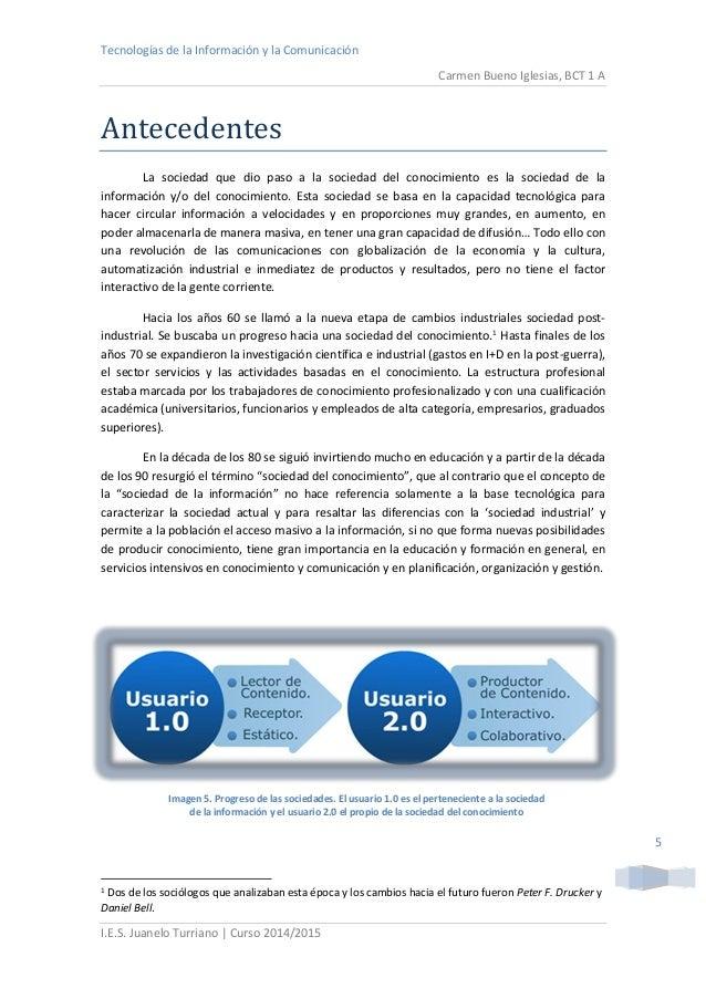 Tecnologías de la Información y la Comunicación  Carmen Bueno Iglesias, BCT 1 A  I.E.S. Juanelo Turriano | Curso 2014/2015...