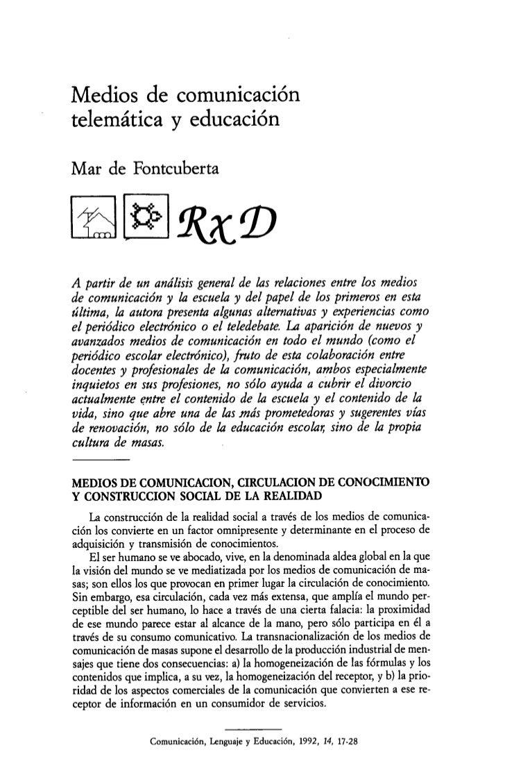 Medios de comunicacióntelemática y educaciónMar de Fontcuberta t>,                   Rx,A partir de un análisis general de...