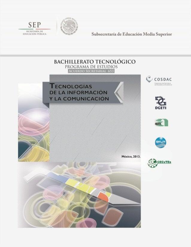 Programa de Estudios  Tecnologías de la Información y la Comunicación