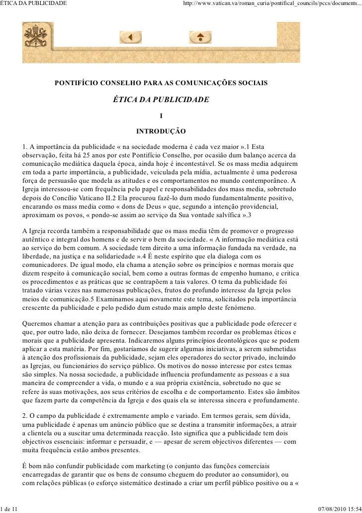 ÉTICA DA PUBLICIDADE                                             http://www.vatican.va/roman_curia/pontifical_councils/pcc...