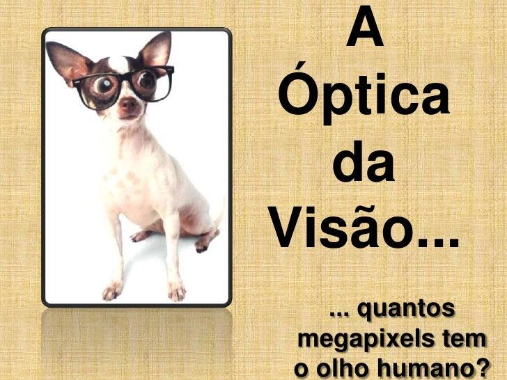 A Óptica da Visão...<br />... quantos megapixels tem o olho humano?<br />