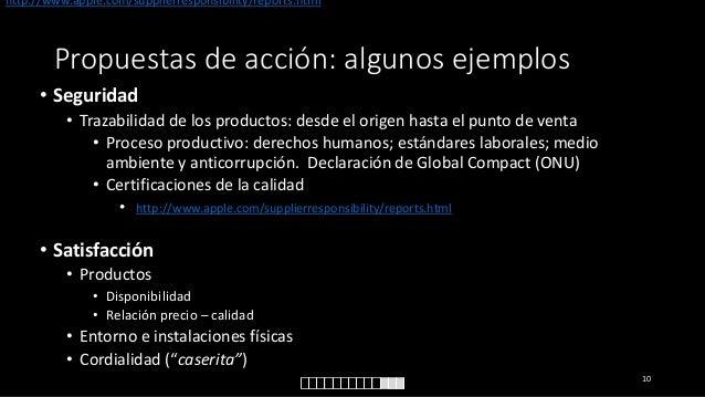 http://www.apple.com/supplierresponsibility/reports.html  Propuestas de acción: algunos ejemplos • Seguridad • Trazabilida...