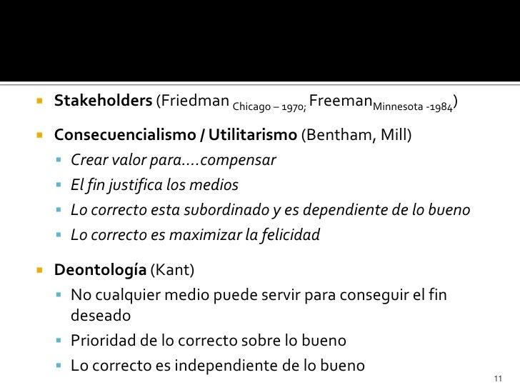    Stakeholders (Friedman Chicago – 1970; FreemanMinnesota -1984)   Consecuencialismo / Utilitarismo (Bentham, Mill)    ...