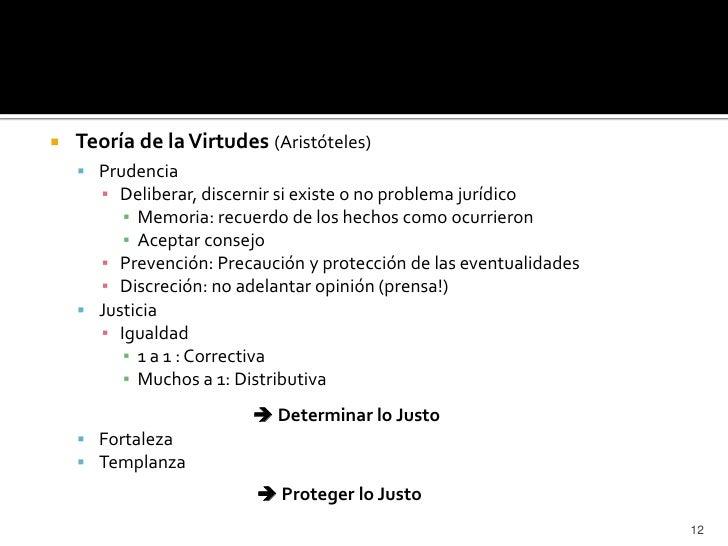    Teoría de la Virtudes (Aristóteles)     Prudencia      ▪ Deliberar, discernir si existe o no problema jurídico       ...