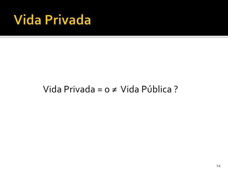 Vida Privada = o ≠ Vida Pública ?                                    14