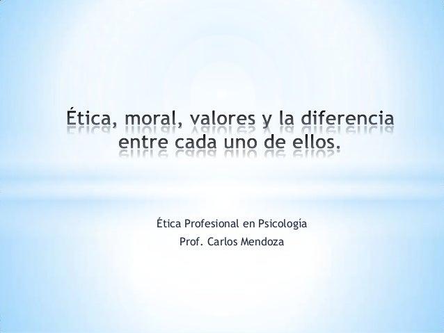 Ética Profesional en Psicología    Prof. Carlos Mendoza