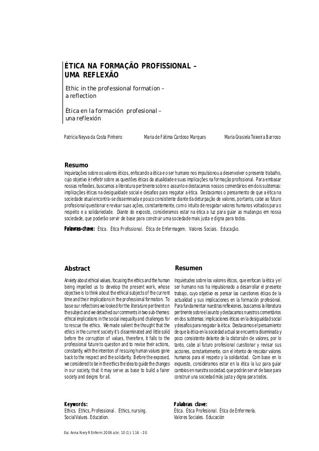 116116116116116 Esc Anna Nery R Enferm 2006 abr; 10 (1): 116 - 20. Ética na formação profissionalÉtica na formação profiss...