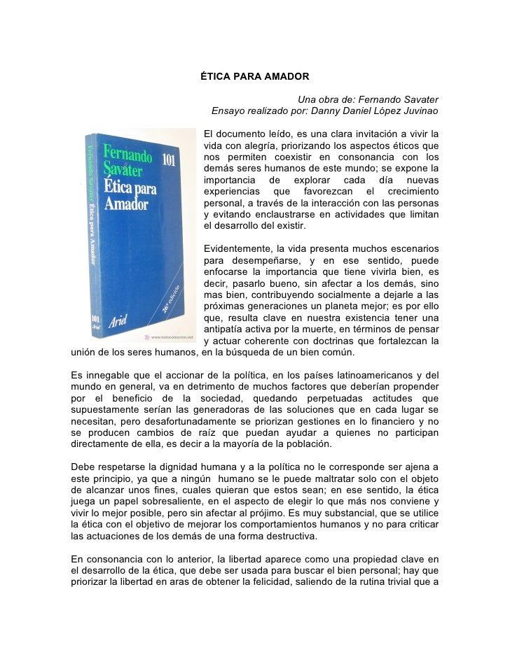ÉTICA PARA AMADOR                                                      Una obra de: Fernando Savater                      ...