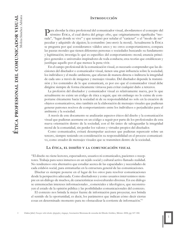 Ética profesional del comunicador visual                                   Molina Sánchez Adriana                         ...
