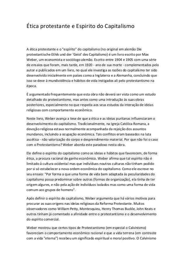 """Ética protestante e Espirito do Capitalismo  A ética protestante e o """"espírito"""" do capitalismo (no original em alemão Die ..."""