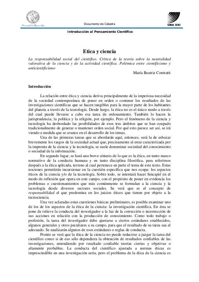 Documento de Cátedra                         Introducción al Pensamiento Científico                                   Etic...