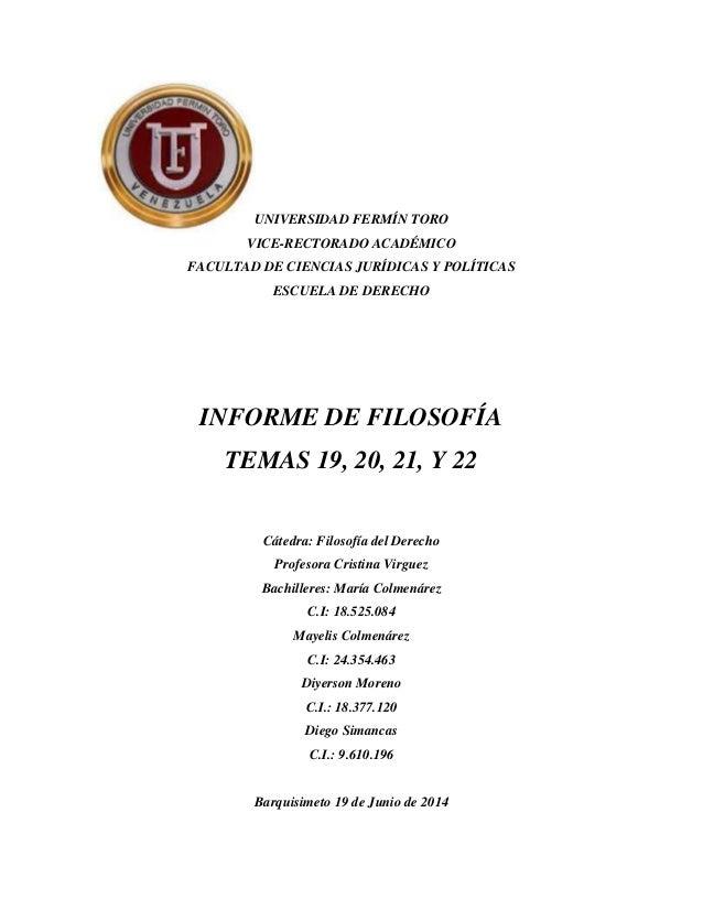 UNIVERSIDAD FERMÍN TORO VICE-RECTORADO ACADÉMICO FACULTAD DE CIENCIAS JURÍDICAS Y POLÍTICAS ESCUELA DE DERECHO INFORME DE ...