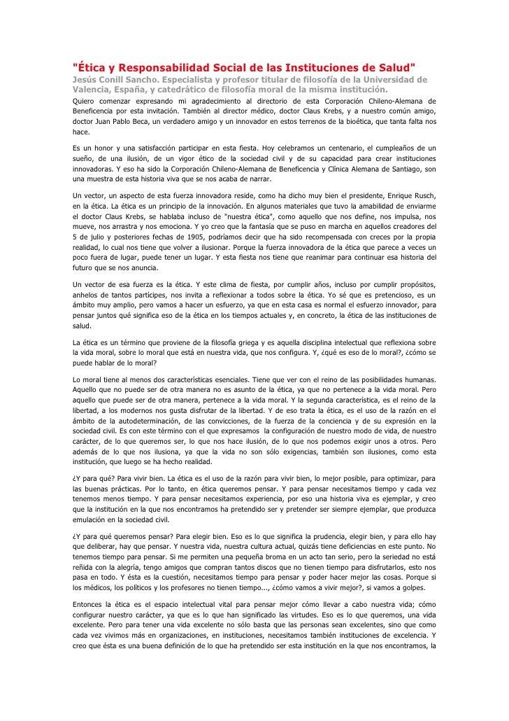 """""""Ética y Responsabilidad Social de las Instituciones de Salud"""" Jesús Conill Sancho. Especialista y profesor titular de fil..."""