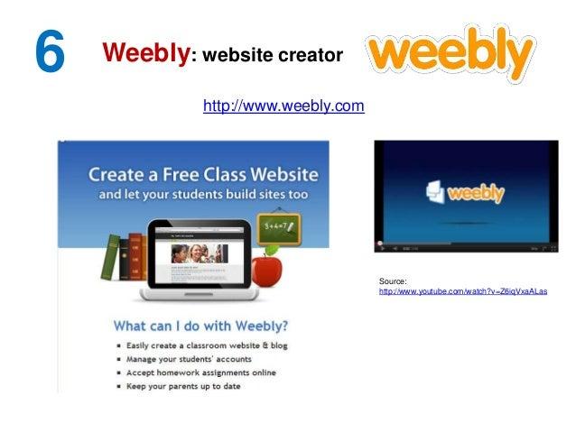6 http://www.weebly.com Weebly: website creator Source: http://www.youtube.com/watch?v=Z6iqVxaALas