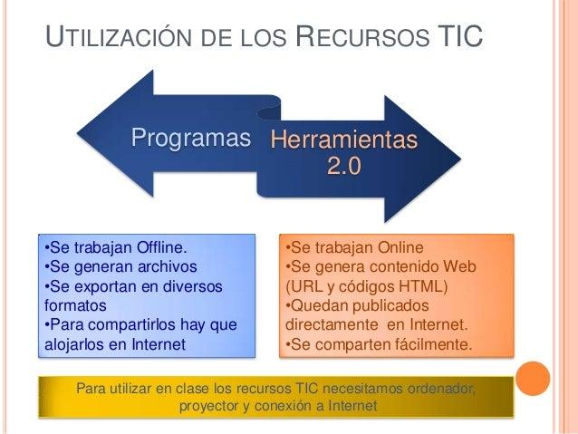 UTILIZACIÓN DE LOS RECURSOS TIC Programas Herramientas 2.0 •Se trabajan Offline. •Se generan archivos •Se exportan en dive...
