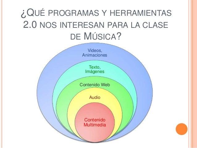 ¿QUÉ PROGRAMAS Y HERRAMIENTAS 2.0 NOS INTERESAN PARA LA CLASE DE MÚSICA? Videos, Animaciones Texto, Imágenes Contenido Web...