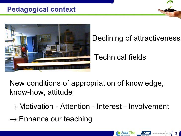 New conditions of appropriation of knowledge, know-how, attitude     Motivation - Attention - Interest - Involvement    ...