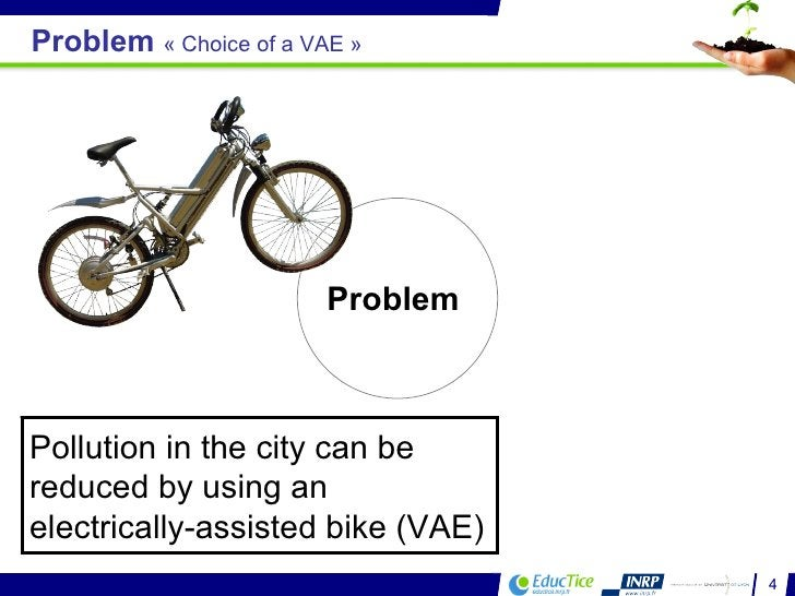 Problem  Pollution in the city can be reduced by using an electrically-assisted bike (VAE) Problem  «Choice of a VAE»