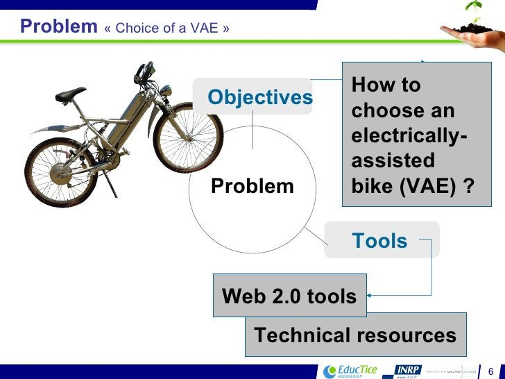 Technical resources Tools  Web 2.0 tools Problem Objectives Problem  «Choice of a VAE» How to choose an electrically-ass...
