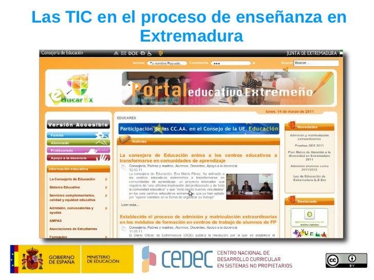 Las TIC en el proceso de enseñanza en  Extremadura