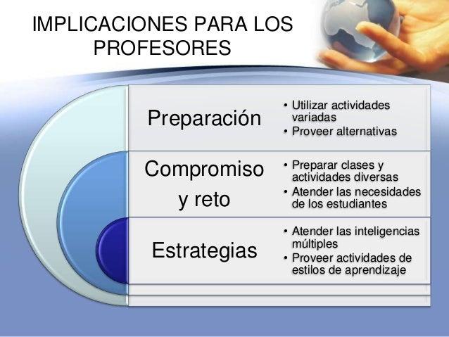 IMPLICACIONES PARA LOSPROFESORESPreparaciónCompromisoy retoEstrategias• Utilizar actividadesvariadas• Proveer alternativas...