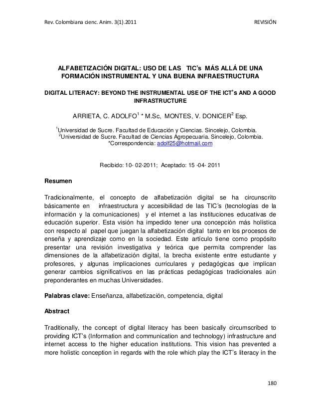 Rev. Colombiana cienc. Anim. 3(1).2011  REVISIÓN  ALFABETIZACIÓN DIGITAL: USO DE LAS TIC's MÁS ALLÁ DE UNA FORMACIÓN INSTR...