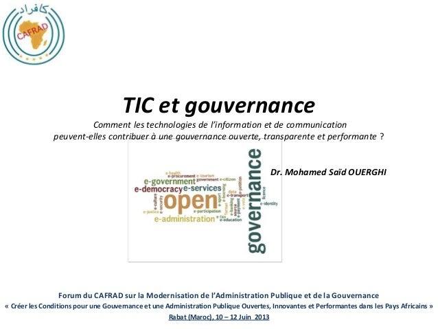 Forum du CAFRAD sur la Modernisation de l'Administration Publique et de la Gouvernance« Créer les Conditions pour une Gouv...