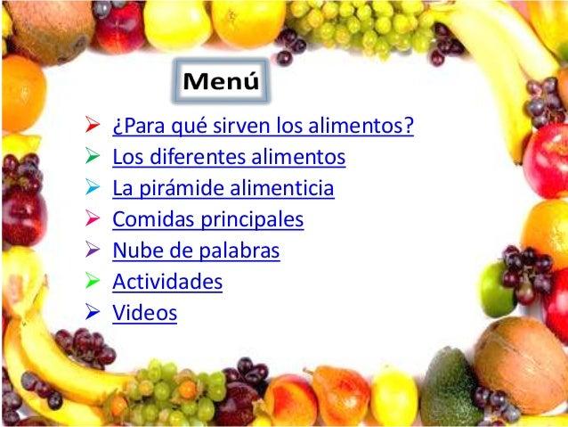        ¿Para qué sirven los alimentos? Los diferentes alimentos La pirámide alimenticia Comidas principales Nube d...