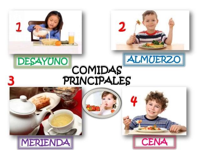 2 DESAYUNO  3  ALMUERZO  COMIDAS PRINCIPALES  4 MERIENDA  CENA