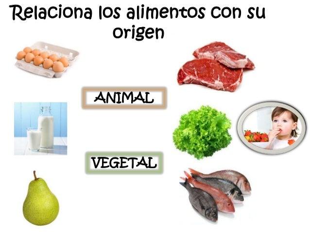 Relaciona los alimentos con su origen  ANIMAL  VEGETAL