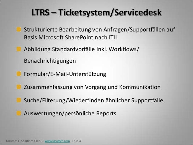 Ticketsystem & Servicedesk für Microsoft SharePoint - LTRS