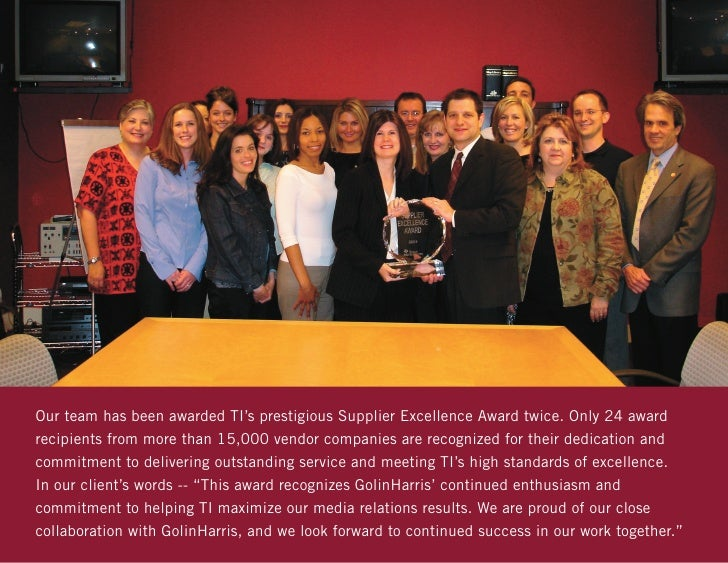 Our team has been awarded TI's prestigious Supplier Excellence Award twice. Only 24 awardrecipients from more than 15,000 ...