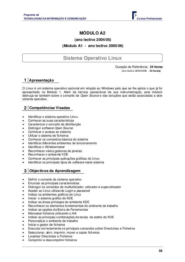 Programa deTECNOLOGIAS DA INFORMAÇÃO E COMUNICAÇÃO                                          C ursos Profissionais         ...
