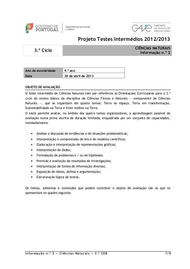 Projeto Testes Intermédios 2012/2013                                                                          CIÊNCIAS NAT...