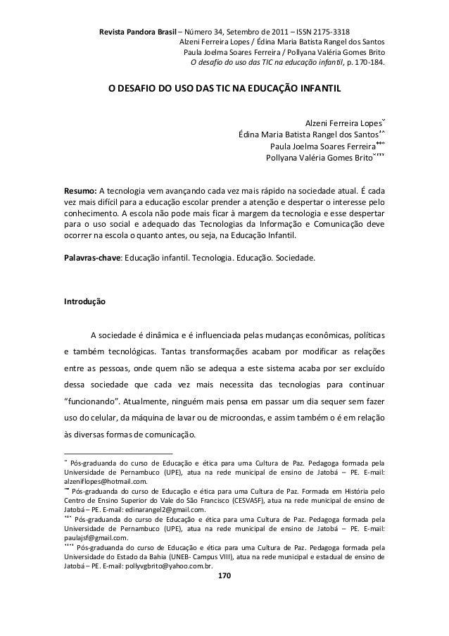 Revista Pandora Brasil – Número 34, Setembro de 2011 – ISSN 2175-3318 Alzeni Ferreira Lopes / Édina Maria Batista Rangel d...