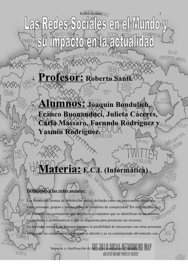 Redes sociales                                       1           Profesor: Roberto Santi.        Alumnos: Joaquín Bondul...