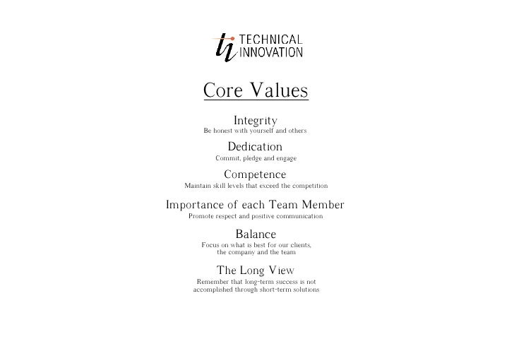 Core Values                    Integrity          Be honest with yourself and others                   Dedication         ...