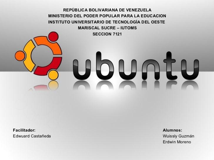 <ul><li>REPÚBLICA BOLIVARIANA DE VENEZUELA </li></ul><ul><li>MINISTERIO DEL PODER POPULAR PARA LA EDUCACION </li></ul><ul>...