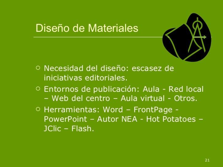 Diseño de Materiales <ul><li>Necesidad del diseño: escasez de iniciativas editoriales. </li></ul><ul><li>Entornos de publi...
