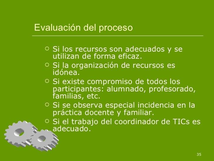 Evaluación del proceso <ul><li>Si los recursos son adecuados y se utilizan de forma eficaz. </li></ul><ul><li>Si la organi...