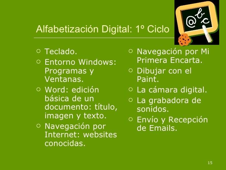 Alfabetización Digital: 1º Ciclo <ul><li>Teclado. </li></ul><ul><li>Entorno Windows: Programas y Ventanas. </li></ul><ul><...