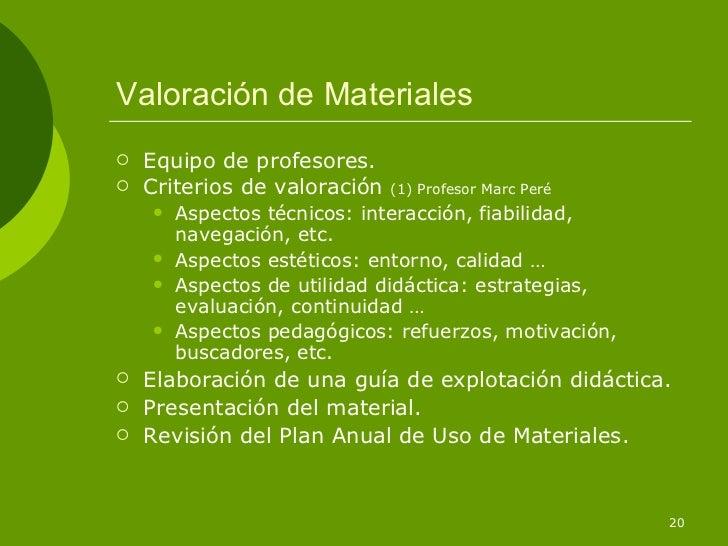 Valoración de Materiales   Equipo de profesores.   Criterios de valoración   (1) Profesor Marc Peré       Aspectos técn...