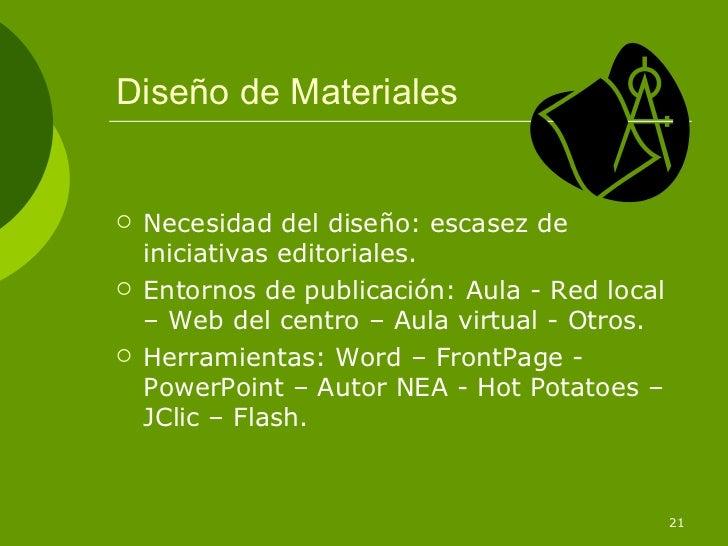 Diseño de Materiales   Necesidad del diseño: escasez de    iniciativas editoriales.   Entornos de publicación: Aula - Re...