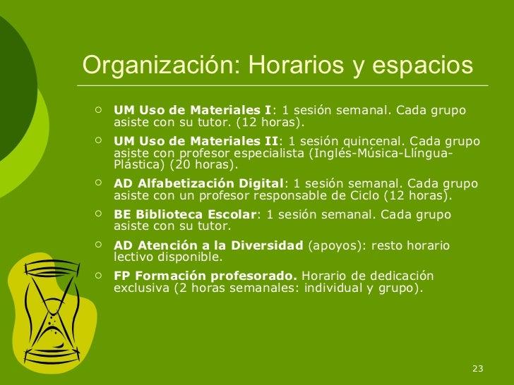Organización: Horarios y espacios    UM Uso de Materiales I: 1 sesión semanal. Cada grupo     asiste con su tutor. (12 ho...